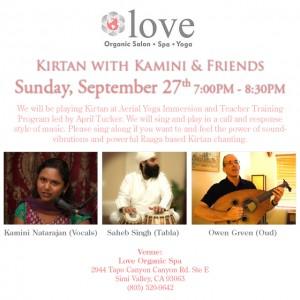 Kamini Natarajan sings Kirtan at Love Organic Spa