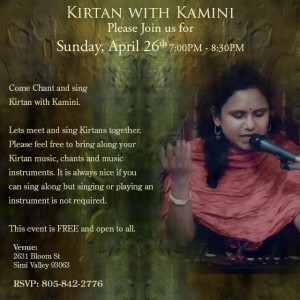 Kirtan with Kamini April 26th 2015