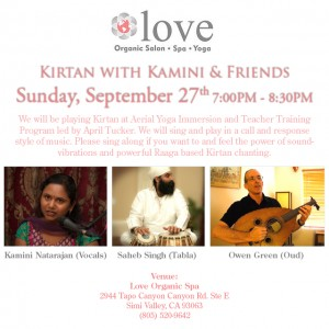 Kamini Natarajan sings Kirtan at Love Organic Spa