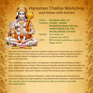 Hanuman Chalisa Workshop with Kamini